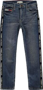 Varsity Print Stretch Jeans Juniors