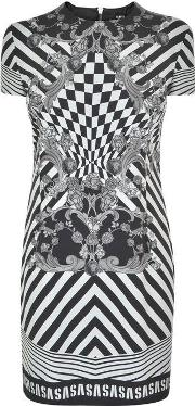 Monotone Baroque Print Dress