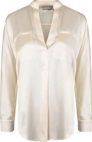 Collar Band Popover Blouse