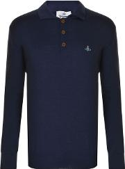 Long Sleeved Knitted Polo Shirt