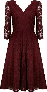 Jolie Moi Berry Lace Midi Dress