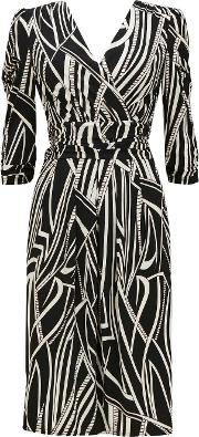 Jolie Moi Black Printed Shift Dress