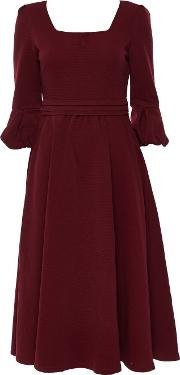 Jolie Moi Burgundy Fit And Flare Midi Dress