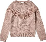 Girls Pink Fringe Knitted Jumper 5 12 Years
