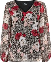 Animal Floral V Neck Blouse