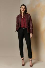 Berry Faux Leather Stitch Front Jacket
