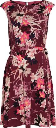 Berry Floral Print Dress