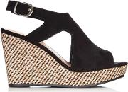 Black Cut Out Wedge Sandal