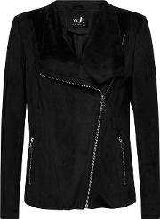 Black Faux Suede Waterfall Jacket