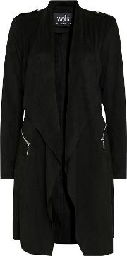 Black Longline Faux Suede Waterfall Jacket
