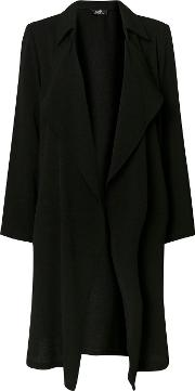 Black Textured Waterfall Duster Jacket