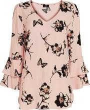 Blush Floral Print Frill Sleeve Blouse