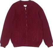 Boys Burgundy Knitted Cardigan 5 12 Years