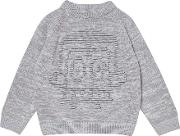 Boys Grey Robot Design Knitted Jumper 18 Months 6 Years