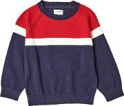Boys Red Panelled Knitted Jumper 18 Months 6 Years