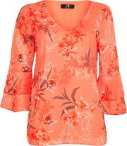 Coral Floral Print Flute Sleeved Blouse