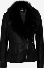 Fur Collar Faux Leather Jacket