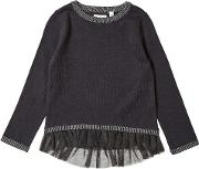 Girls Black Frill Hem Knitted Jumper 18 Months 6 Years