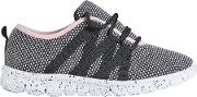 Girls Black Knitted Sports Trainers 5 12 Years