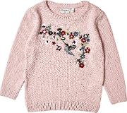Girls Pink Floral Knitted Jumper 18 Months 6 Years