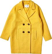Girls Yellow Double Breasted Boucle Overcoat 5 12 Years