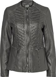 Grey Faux Leather Stitch Front Jacket