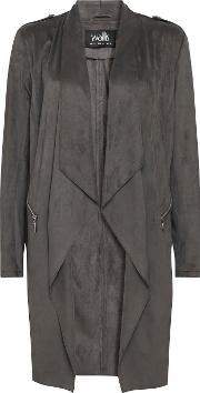 Grey Longline Faux Suede Waterfall Jacket