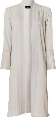 Grey Pleated Sleeve Duster Jacket