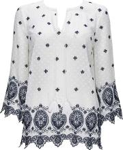 Ivory And Blue Tie Neck Blouse