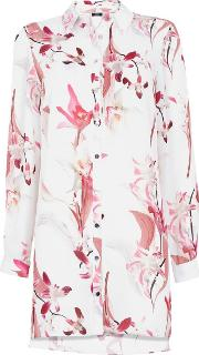 Ivory Floral Print Longline Shirt