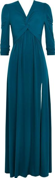 Jolie Moi Teal Twist Maxi Dress