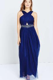 Little Mistress Navy Embellished Waist Maxi Dress
