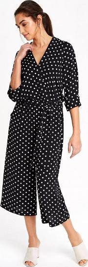 Monochrome Polka Dot Wrap Jumpsuit