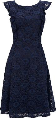 Navy Ruffle Lace Fit And Flare Dress