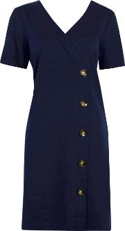 Navy V Neck Button Shift Dress