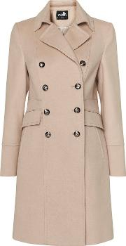 Nude Faux Wool Military Coat