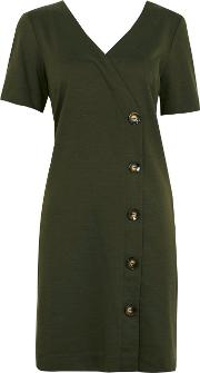Olive V Neck Button Shift Dress