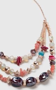 Pale Pink Multirow Necklace