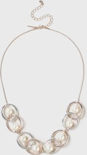 Pearl Mixed Metal Collar Necklace