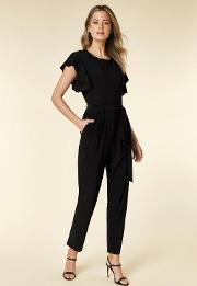 Petite Black Frill Belted Jumpsuit