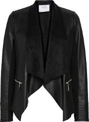 Petite Black Zip Detail Waterfall Jacket