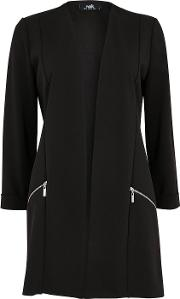 Petite Black Zip Pocket Scuba Jacket