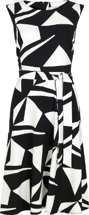 Petite Monochrome Geometric Print Dress