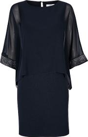 Petite Navy Sparkle Cuff Dress