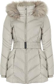 Petite Silver Short Padded Belted Coat