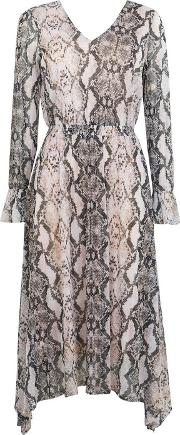 Petite Stone Snake Print Midi Fit And Flare Dress