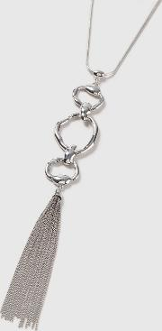 Silver Finish Tassel Long Necklace