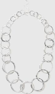 Silver Hammered Ring Necklace