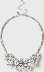Silver Large Beaded Collar Necklace