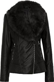 Tall Black Faux Leather Fur Jacket